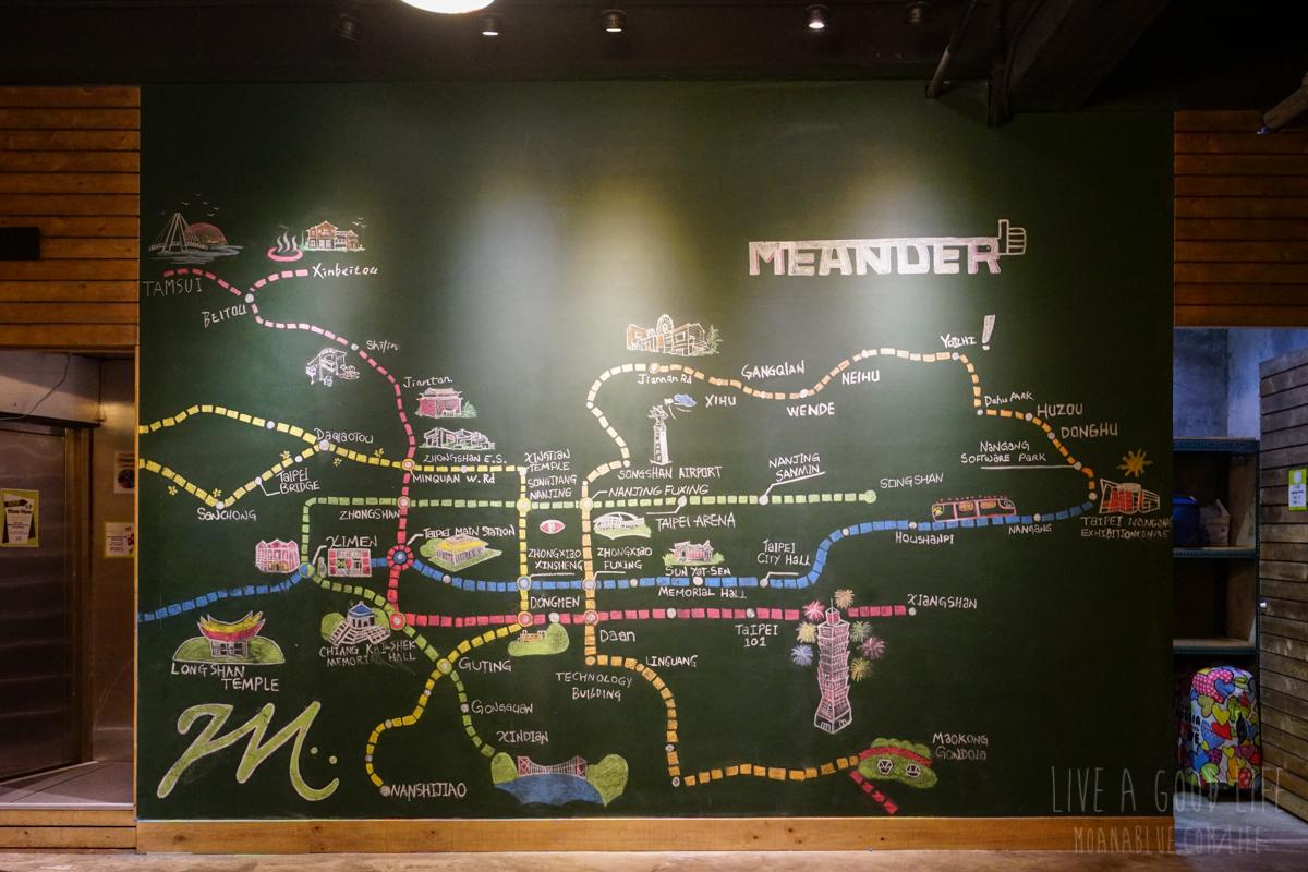 宿泊したゲストハウスにあった台北地下鉄MAP黒板